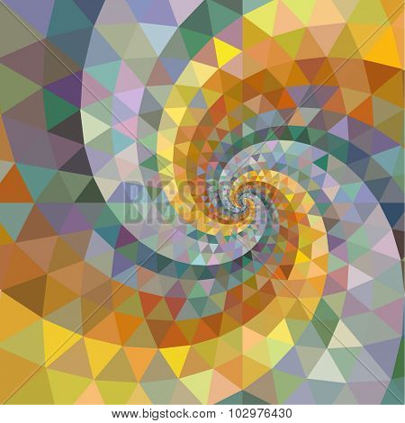 Silver and gold polygon swirl rainbow background.