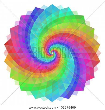 Colorful polygon swirl rainbow background.