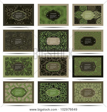 Set retro business card. Card or invitation. Vintage decorative elements. Hand drawn background. Isl