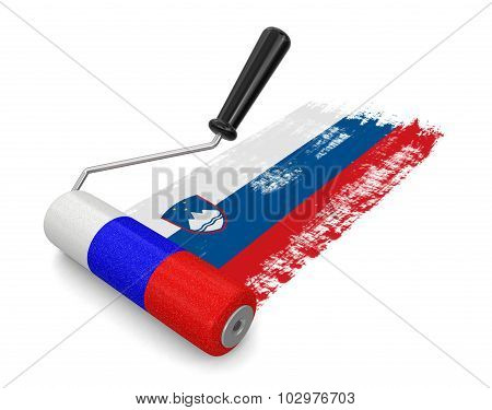 Paint roller with Slovak flag (clipping path included)