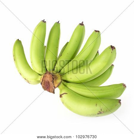 Green Banana Raw Isolated On White Background
