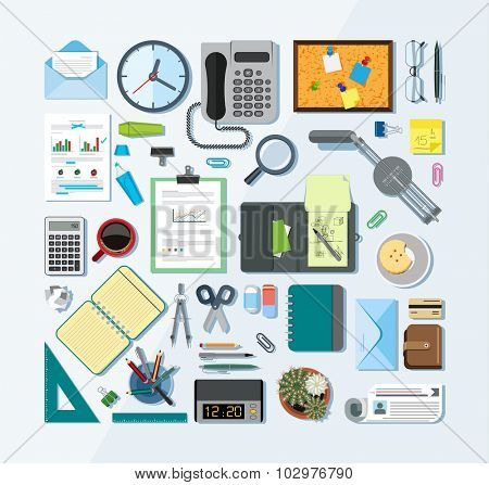 Set of office related items from top view. Collection of icons related to business, office and school. Flat design style.