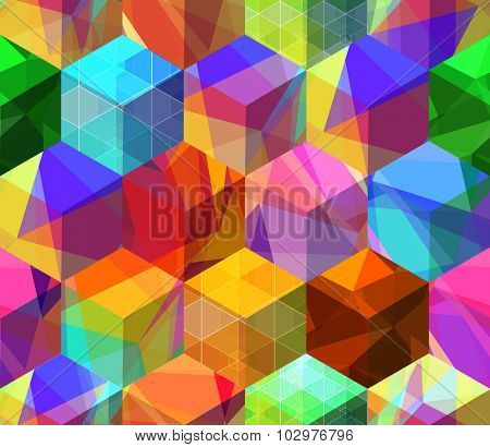 Trendy seamless background with refracting colorful cubes