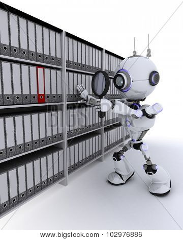 3D Render of a Robot searching documents