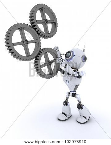 3D Render of a Robot with gears