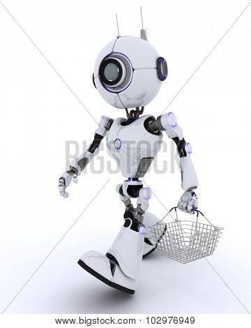 3D Render of a Robot with a shopping basket