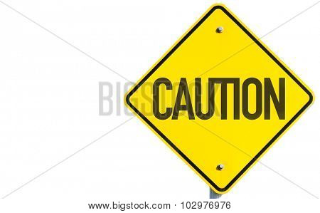 Caution sign isolated on white background