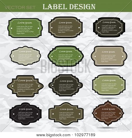 Set retro business labels. Card or invitation. Vintage decorative elements. Hand drawn background. I