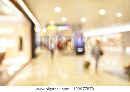 Duty free shop windows in airport - defocused blured background