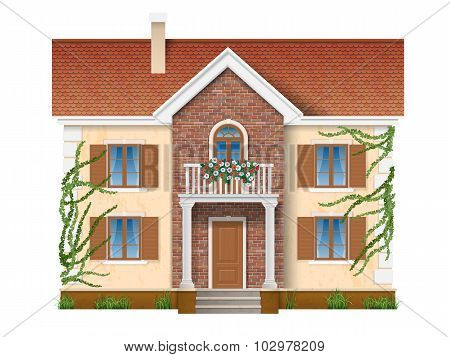 Residential House Overgrown With Ivy