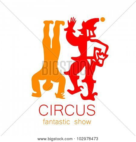 Circus - template logo. Show of clowns, acrobats.