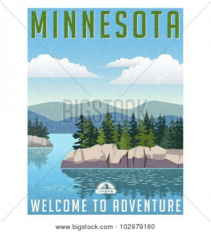 Retro style travel poster or sticker. United States, Minnesota.