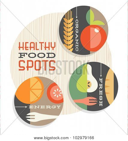 set of retro spot illustrations with abstract healthy foods in flat style
