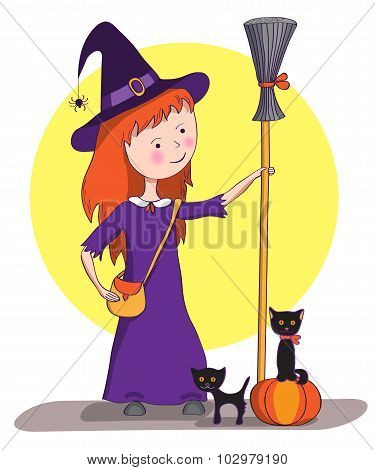 Picture For Halloween. Little Witch