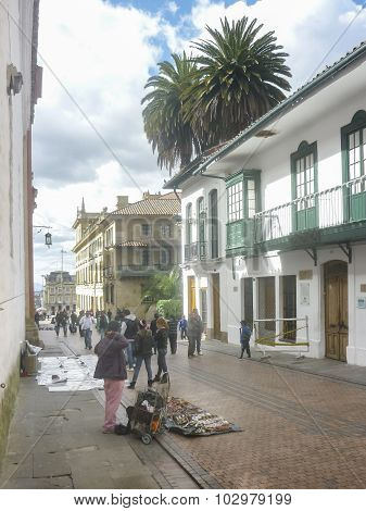 Traditional Street At Historic Center Of Bogota Colombia