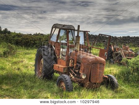 Old Red Rusty Tractor