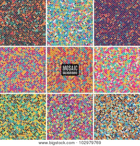 Set Background Abstract Mosaic Of The Pixel Pattern Grid And Squares Different Color