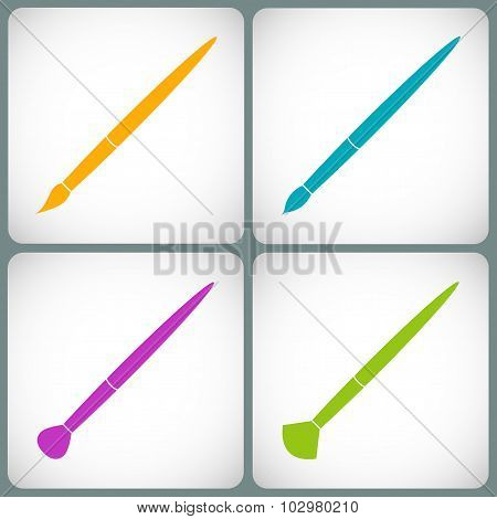 Set Paint Brush Colored Icons In The Style Flat Design Isolated On Gray Background