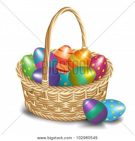 Easter Basket With Colored Eggs On A White Background.