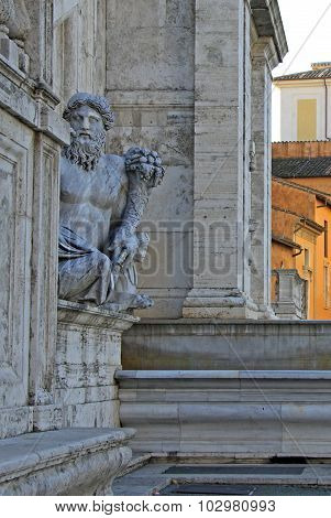 Ancient Roman Allegory Of Nile River. Capitoline Hill, Rome, Italy