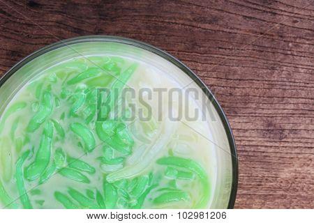 Thai Food, Lod Chong Dessert Coconut Milk On Wood Table