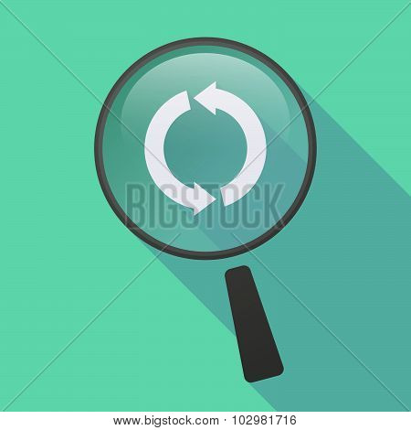 Long Shadow Magnifier Icon With A Round Recycle Sign