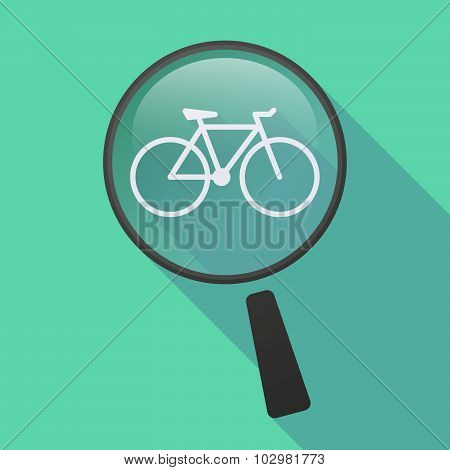 Long Shadow Magnifier Icon With A Bicycle