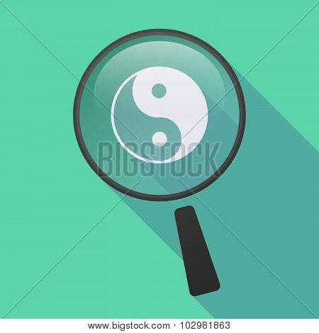 Long Shadow Magnifier Icon With A Ying Yang