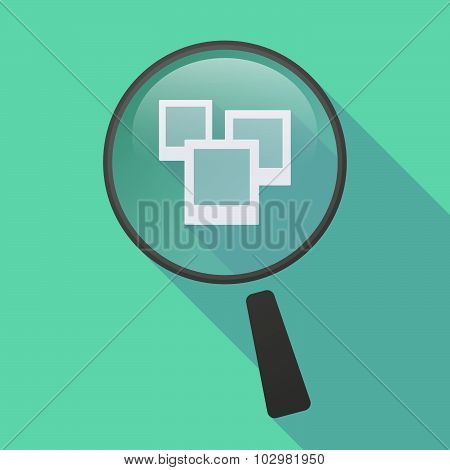 Long Shadow Magnifier Icon With A Few Photos