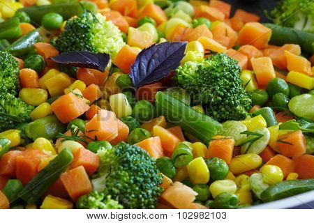 Cooked vegetables mix. Peas and green beans. Healthy diet.