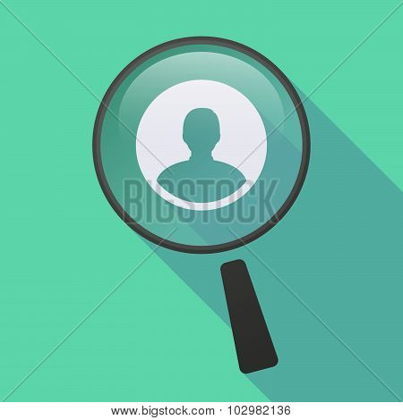 Long Shadow Magnifier Icon With A Male Avatar