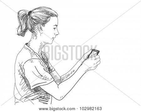 Sketch of woman reading electronic book, Hand drawn vector illustration