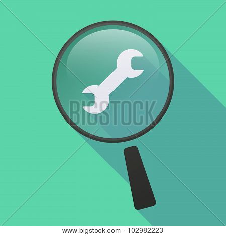 Long Shadow Magnifier Icon With A Wrench