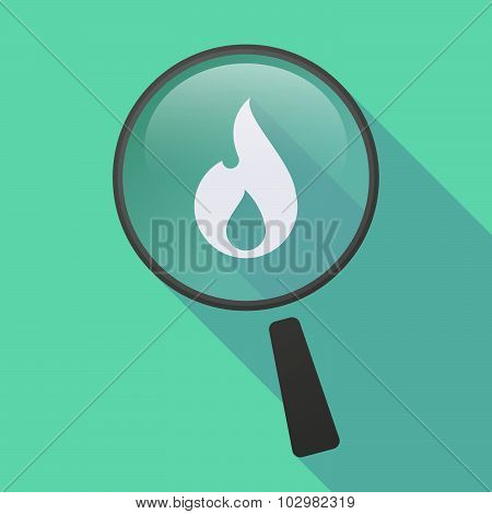 Long Shadow Magnifier Icon With A Flame