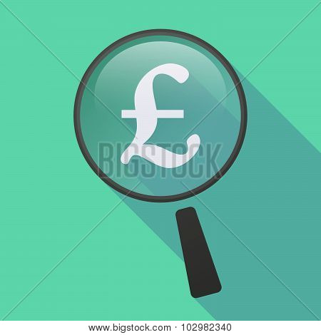 Long Shadow Magnifier Icon With A Pound Sign