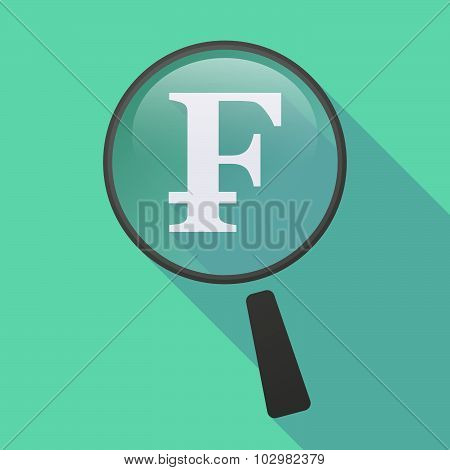 Long Shadow Magnifier Icon With A Swiss Franc Sign