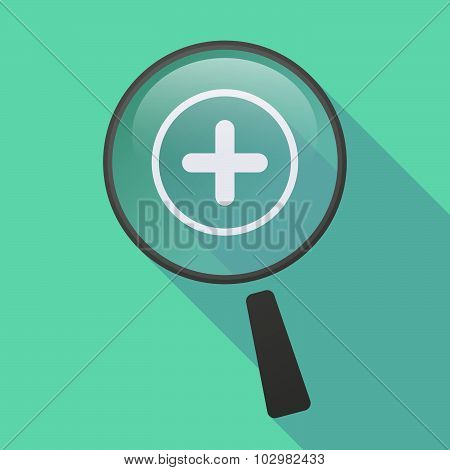 Long Shadow Magnifier Icon With A Sum Sign