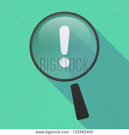 Long Shadow Magnifier Icon With An Exclamarion Sign