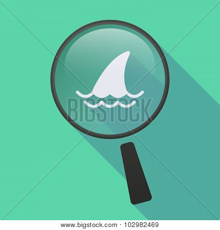 Long Shadow Magnifier Icon With A Shark Fin
