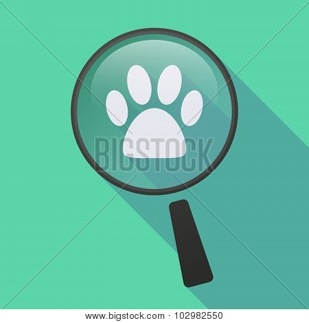 Long Shadow Magnifier Icon With An Animal Footprint