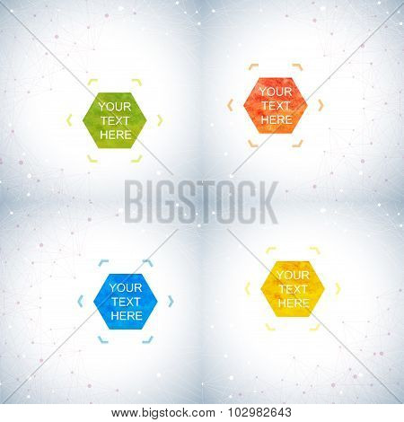 Geometric abstract background with connected lines and dots. Hexagonal colorful vector shapes in the