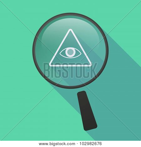 Long Shadow Magnifier Icon With An All Seeing Eye