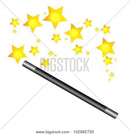Magic Wand And Stars, Vector Illustration.