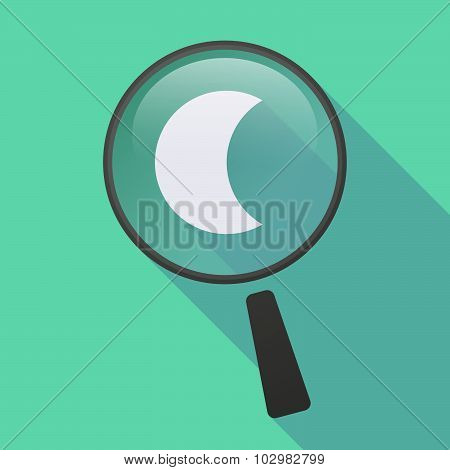 Long Shadow Magnifier Icon With A Sparkle