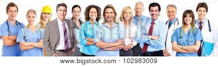 Group of young business people isolated on white background.
