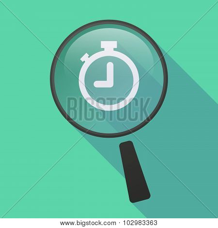 Long Shadow Magnifier Icon With A Timer