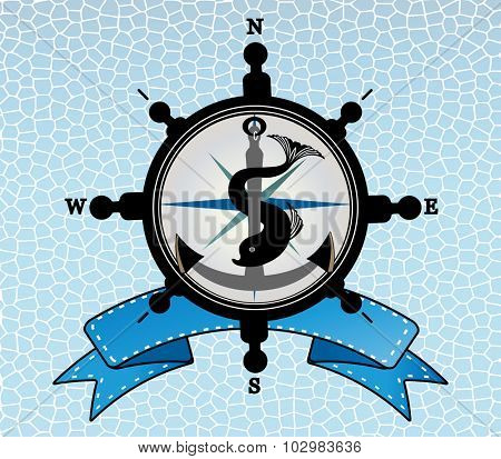 Ships steering wheel with anchor and  compass - fish intertwined and  and  banner behind  - layered
