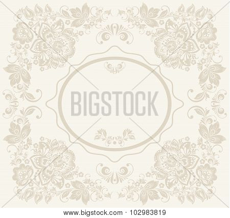 Vector background of floral pattern with traditional russian flower ornament.