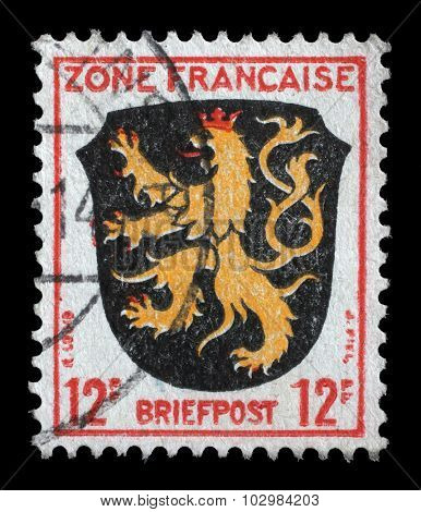 GERMANY - CIRCA 1945: a stamp printed in the Zone Francaise, Germany shows Coat of Arms of Palatinate District, circa 1945