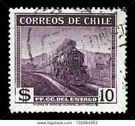 CHILE - CIRCA 1938: A stamp printed in Chile, shows locomotive the State Railway, circa 1938